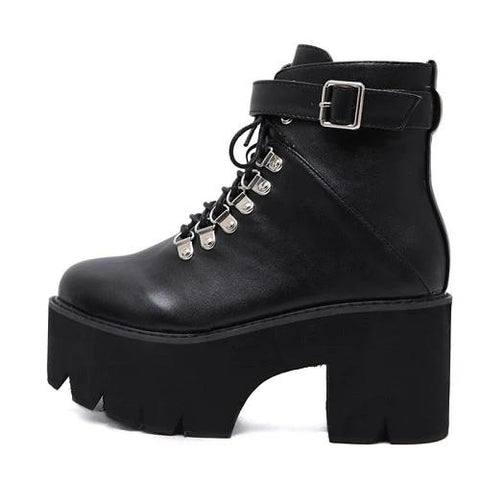 Leather Buckle Round Toe Leisure Boots Size 35-40