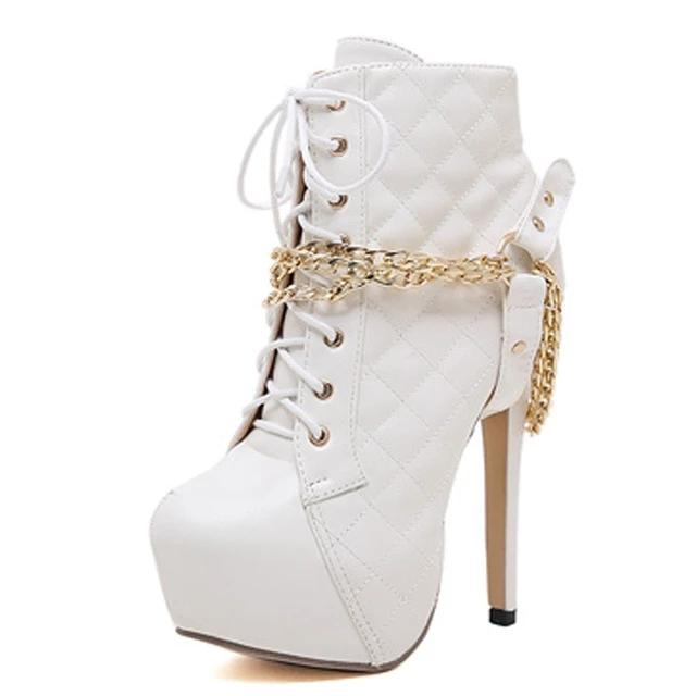 Platform Riding Booties Chain Rivet Ladies Pumps