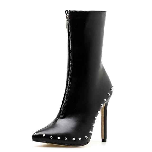 Metal Decoration Rivet Pointed Toe Ankle Boots