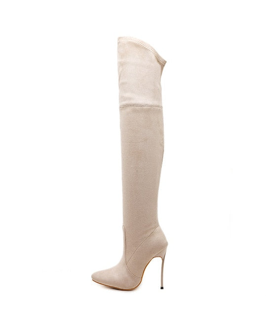 Stretch Fabric Thigh High Boots