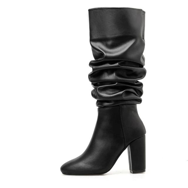 Mid Calf Boots Pointed Toe Boots