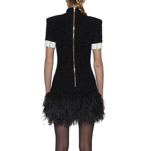 Feather Sheath Weaving Mini Dress