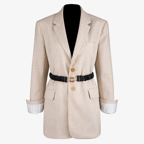 Solid Beige Blazers with Belt
