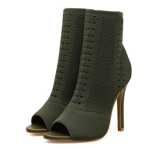 Army Green  Elastic Knit Sock Boots Open Toe High Heels