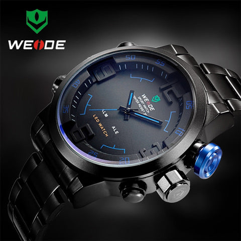Men Stainless Steel Digital Watch Sports Military Wristwatch LED Quartz - spiffy-fashion-boutique