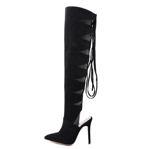Knee Thigh High Lace-Up Boots Cross-tied