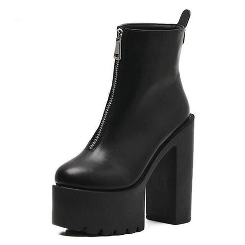 Platform Boots Shoes Zipper Round Toe