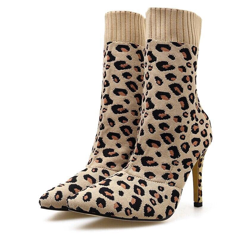 Leopard Print Woman Ankle Boots