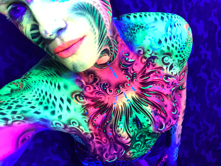 UV BodyPaint featuring Stencils, Sacred Geometry, Airbrush