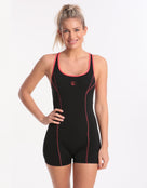 Aqua Curve Legsuit - Black and Cherry