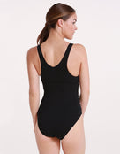 Womens Leopard  Panel V Back Swimsuit