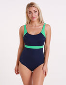Stella Longer Length Clipback Swimsuit - Navy /Jade