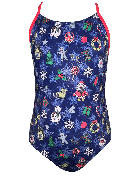 Girls Santa Sparkle Swimsuit