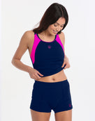 Halocline Sport Racer Tankini Top - Navy and Pink