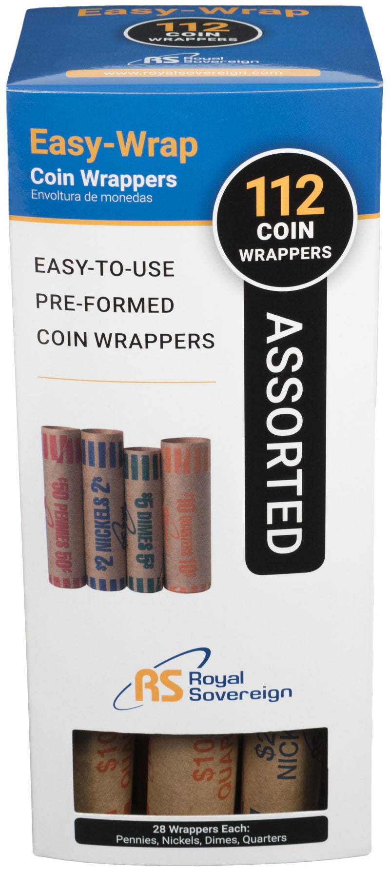 FSW-112Q Royal Sovereign Preformed Coin Wrappers 112 Quarter Coin Wrappers