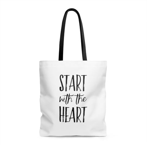 Start with the Heart AOP Tote Bag