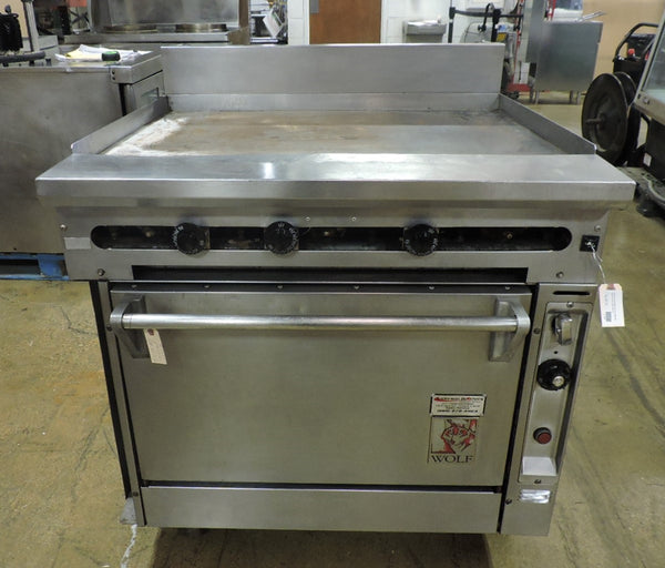 Wolf FV361 Commercial Heavy Duty Griddle Top Gas Range With Standard Oven Base