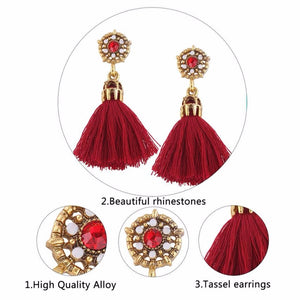 Tassle Drop Earrings with Beaded Stud