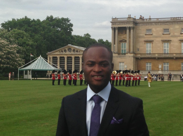 Henry Sayki wears his Emma Willis Bespoke shirt donated by Style for Soldiers to the Buckingham Palace Garden Party