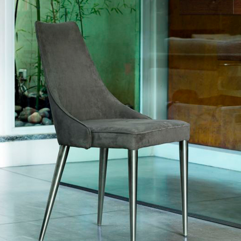 Clara Chair, Metal Legs, Natural Silver & Mink Nabuk, 20.5-in x 18.9-in