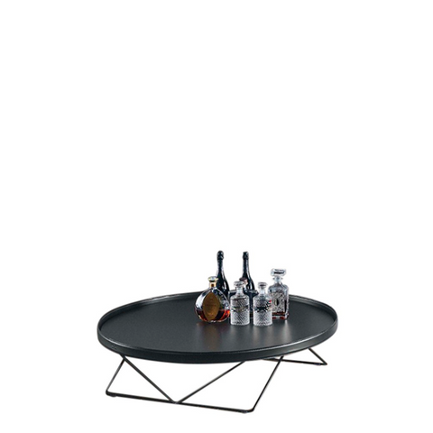 Flexus Round Coffee Table, Natural Silver & Anthracite Leather