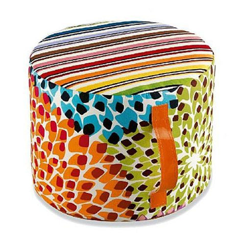 Rainbow/Dalia Outdoor Cylinder Pouf, Multicolor