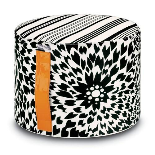 Dalia Outdoor Cylinder Pouf, Black & White