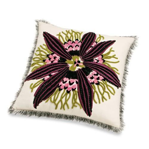 "Passion Flower cushion, 16"" x 16"""