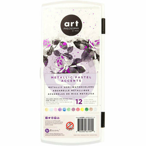 Prima Metallic Accents Semi-Watercolor Paint Set 12 Metallic Pastel Paints