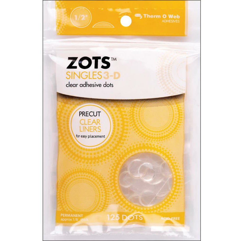"Load image into Gallery viewer, Zots Singles | 3-D Clear Adhesive Dots | 1/2""x1/8"" 125 pk"