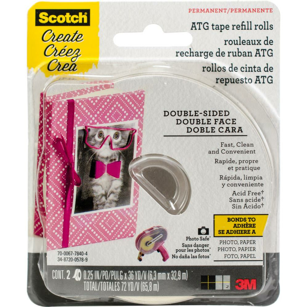 "Load image into Gallery viewer, Scotch | Double-Sided Permanet Tape | 1/4"" ATG Refill 2pk"