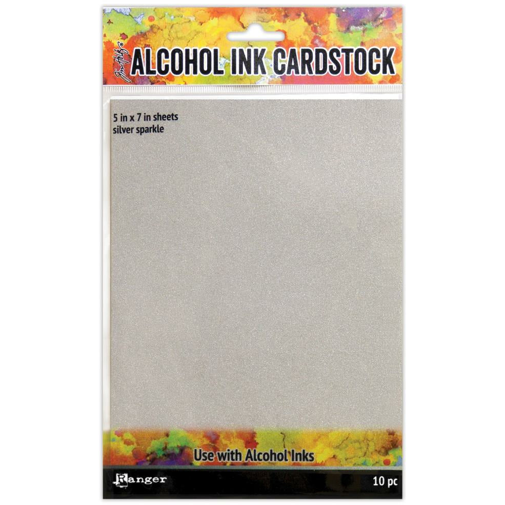 Load image into Gallery viewer, Tim Holtz | Alcohol Ink Cardstock | Silver Sparkle 10/pkg 5x7""