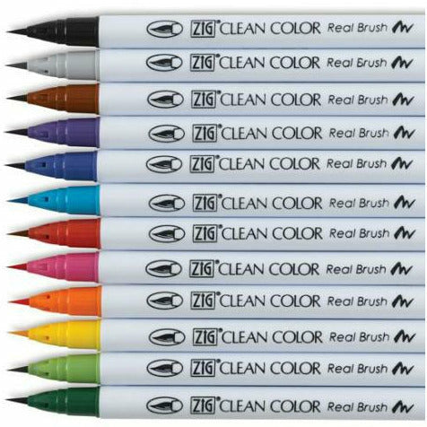 Load image into Gallery viewer, ZIG Clean Color Real Brush Markers 12/Pkg