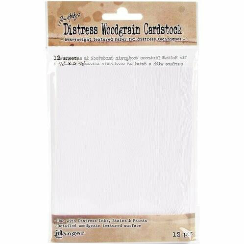 Tim Holtz Distress A2 4.25''X5.5'' Woodgrain Cardstock, 12 pack