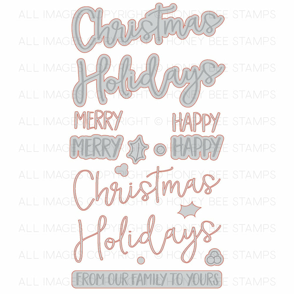 Merry Christmas | Honey Cuts | Steel Craft Dies – Honey Bee Stamps