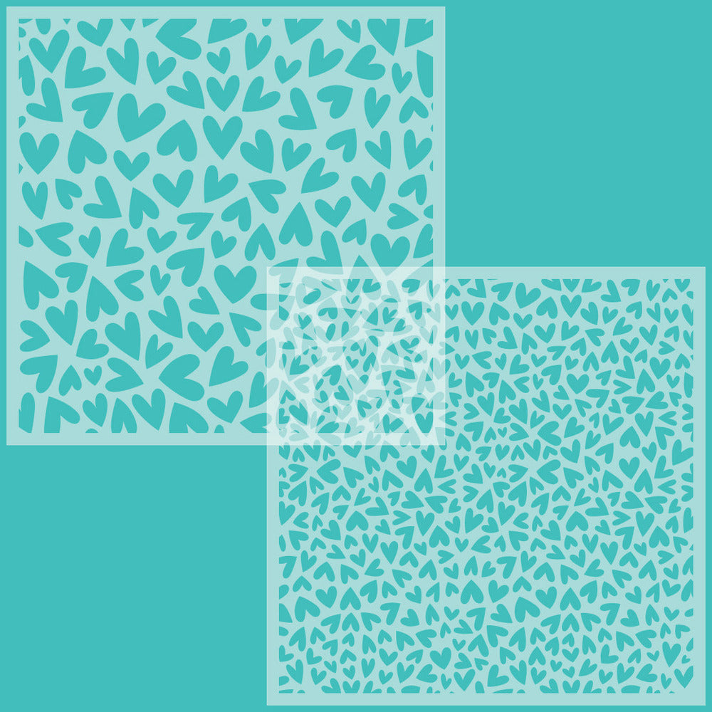 Load image into Gallery viewer, Fluttering Hearts | Background Stencils | Set of 2