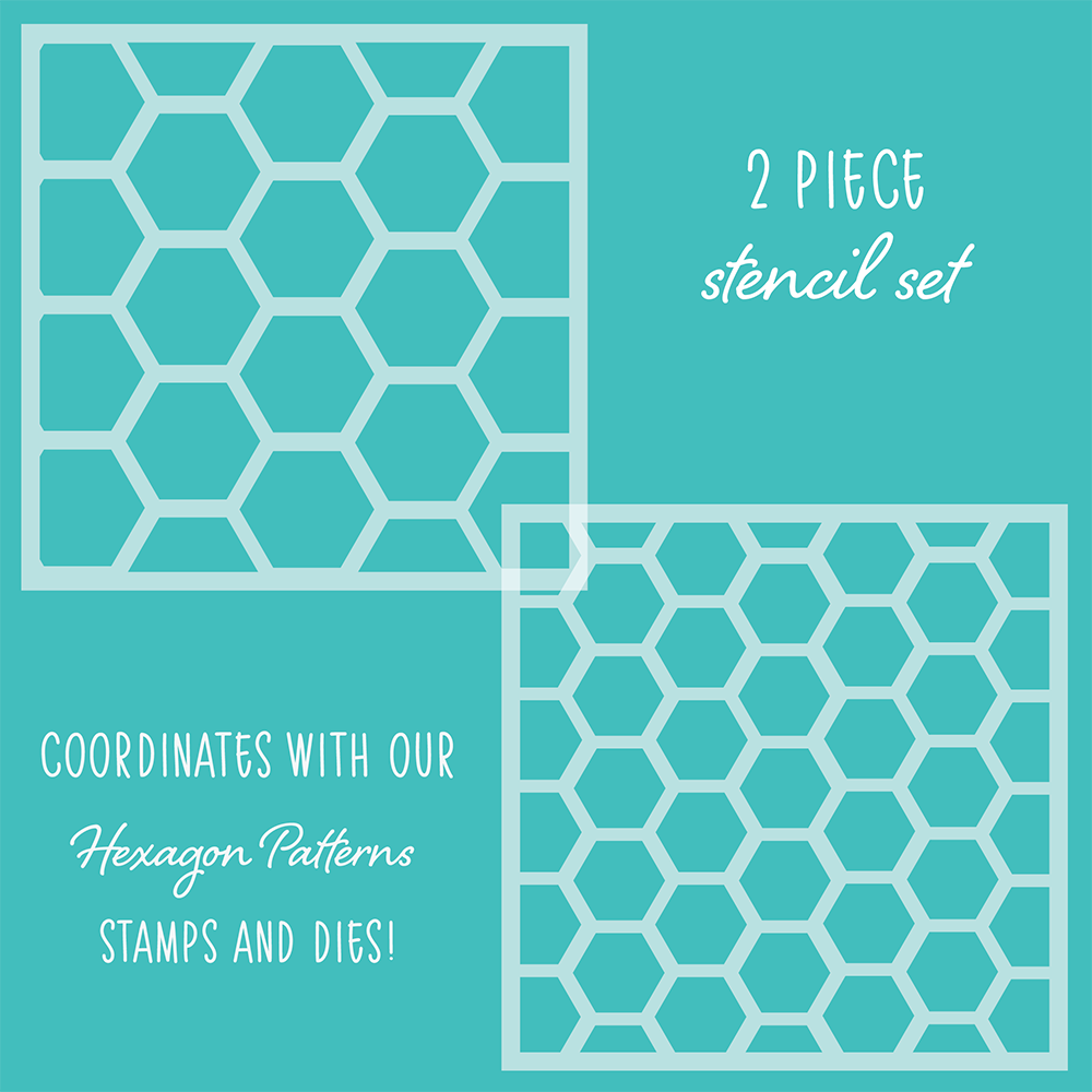 Load image into Gallery viewer, Hexagon Patterns | Stencils | Set of 2