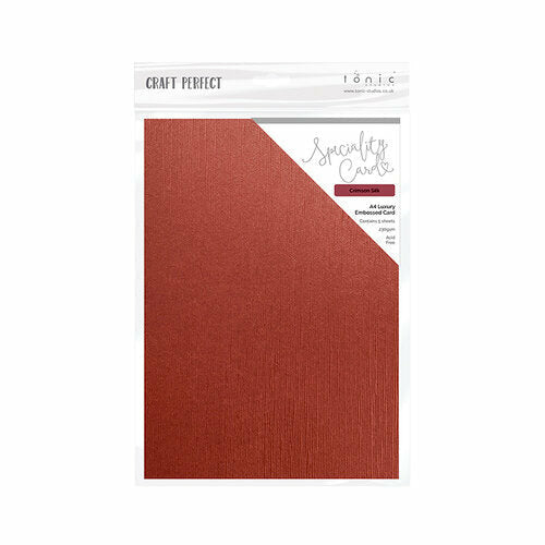 Craft Perfect - Luxury Embossed Card - Crimson Silk - A4 (5/PK)