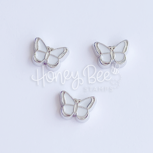 White Butterflies | Set of 3 Shaker Charms
