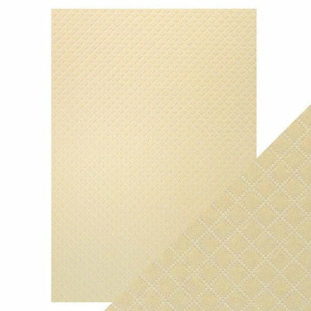 Craft Perfect - Luxury Embossed Card - A4 (5/PK) - Champagne Harlequin