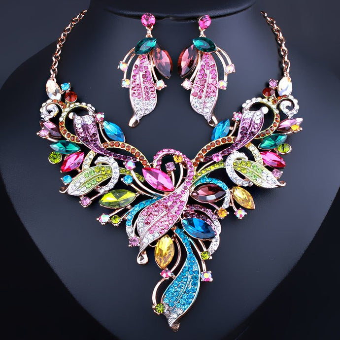 Wedding Color Crystal Flower Necklace and Earrings set - Bags of Shizzle