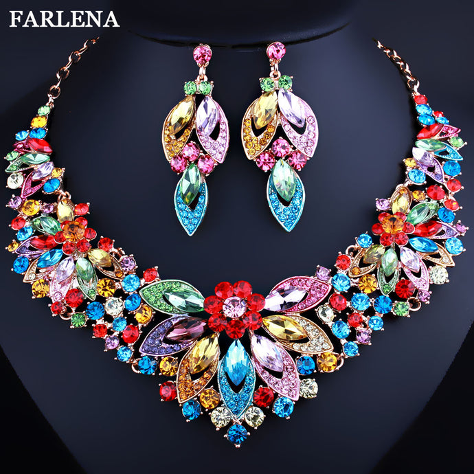 Luxury Crystal Rhinestones Leaves Necklace and Earrings set - Bags of Shizzle