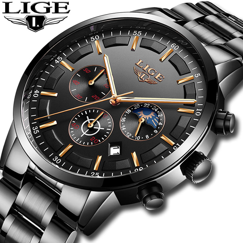 Mens LIGE Fashion Sport Quartz  Waterproof Watch - Bags of Shizzle