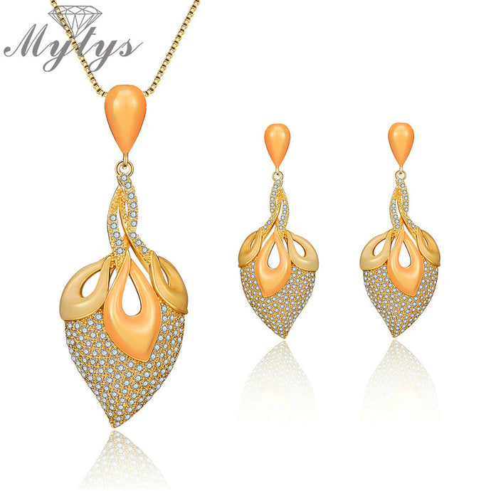Enamel Leaf Pave Setting Rhinestone Necklace and Earring Set - Bags of Shizzle
