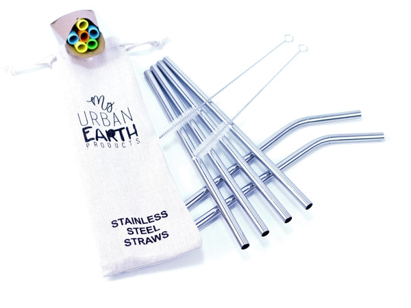 SET OF 6 STAINLESS STEEL DRINKING STRAWS