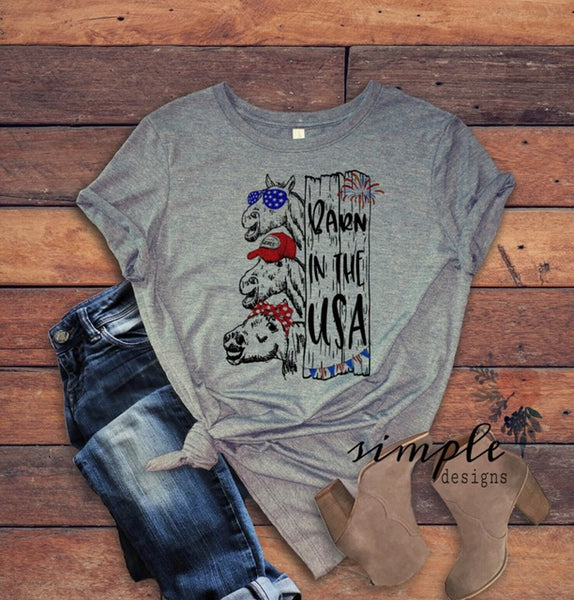 Barn in the USA T-Shirt, 4th of July Tee, American Flag Shirt, Horses, Barn