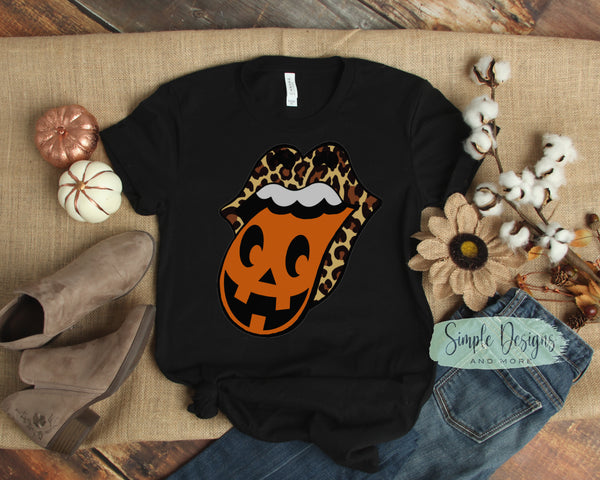 Jack O'lantern Pumpkin Tongue T-shirts, Fall, Autumn Bella Canvas, Next Level