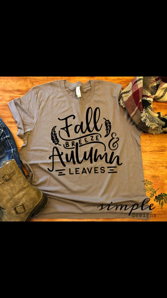 Fall Breeze Autumn Leaves Bella Canvas Fall T-shirt Sale