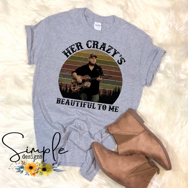 Luke Combs Her Crazy's Beautiful to Me T-shirt, Raglan, Country Music Lyrics