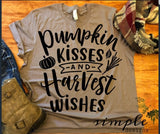 Pumpkin Kisses and Harvest Wishes Bella Canvas T-shirts